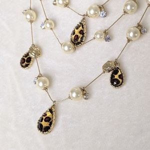 Betsey Johnson Leopard Crystal Layer Necklace